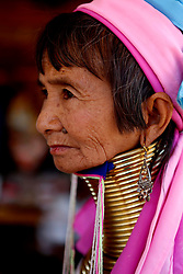 A Padaung woman with brass rings around her neck sits at her gift shop in Panpet Village, Demoso Township, Kayah State, Myanmar, April 11, 2016. The brass rings are first applied when the Padaung girls are about eight years old and as the girl grows older, longer coils are added up to 24 or 25 rings. EXPA Pictures © 2016, PhotoCredit: EXPA/ Photoshot/ U Aung<br /> <br /> *****ATTENTION - for AUT, SLO, CRO, SRB, BIH, MAZ, SUI only*****