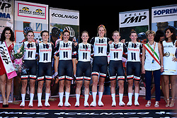 Team Sunweb take in the applause after winning Giro Rosa 2018 - Stage 1, a 15.5 km team time trial in Verbania, Italy on July 6, 2018. Photo by Sean Robinson/velofocus.com