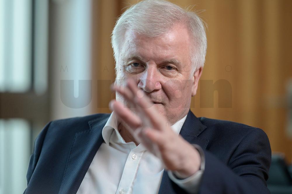 01 JUL 2019, BERLIN/GERMANY:<br /> Horst Seehofer, CSU, Bundesinnenminister, waehrend einem Interview, in seinem Buero, Bundesministerium des Inneren<br /> IMAGE: 20190701-01-059<br /> KEYWORDS: Büro