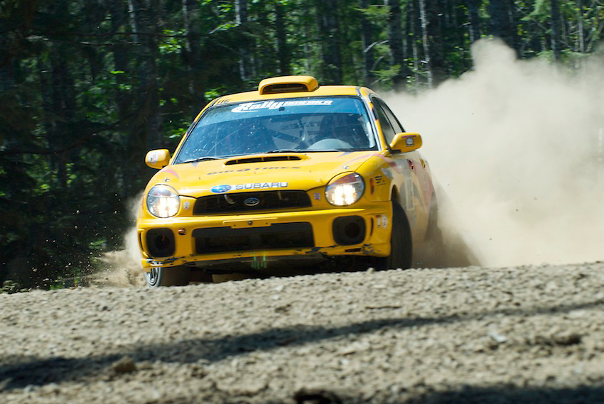 Day three of the Oregon Trail Rally was about forty five minutes West of Portland in heavily treed stages. Pictured here, a lucky subie escapes the nasty roads, unscathed.