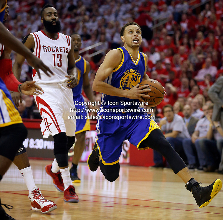 May 23, 2015 - Houston, TX, USA - The Golden State Warriors' Stephen Curry (30) heads to the basket in front of the Houston Rockets' James Harden (13) in the second quarter during Game 3 of the NBA Western Conference finals at the Toyota Center in Houston on Saturday, May 23, 2015. The Warriors won, 115-80, for a 3-0 series lead