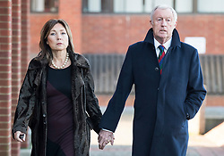 © Licensed to London News Pictures. 18/01/2018. Reading, UK. Television presenter CHRIS TARRANT leaves Reading Magistrates Court with his partner JANE BIRD where he pleaded guilty to driving charges. The 71-year-old was reportedly stopped by police at 2. 30pm as he left the Bladebone Inn, in Bucklebury, Berkshire. Photo credit: Ben Cawthra/LNP