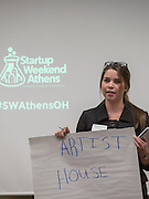 Kayleigh Marks gives her pitch at Startup Weekend Athens at the Ohio University Innovation Center on March 18, 2016. Taylor came in second overall.