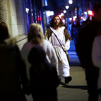 "Michael Grant, 28, ""Philly Jesus,"" walks the center city streets in Philadelphia, PA on December 14, 2014.  Nearly everyday for the last 8 months, Grant has dressed as Jesus Christ, and walked the streets of Philadelphia to share the Christian gospel by example.  He quickly acquired the nickname of ""Philly Jesus,"" which he has gone by ever since. REUTERS/Mark Makela (UNITED STATES)"