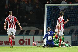 Rochdale's Matt Done shoots wide - Photo mandatory by-line: Matt McNulty/JMP - Mobile: 07966 386802 - 26/01/2015 - SPORT - Football - Rochdale - Spotland Stadium - Rochdale v Stoke City - FA Cup Fourth Round