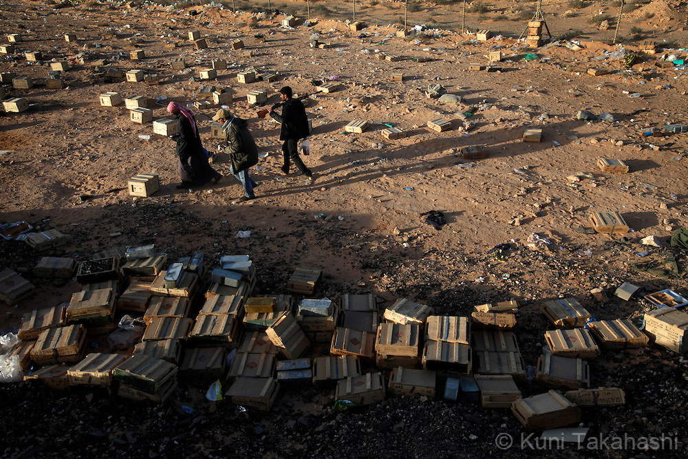 Ammunition boxes were scattered at a makeshift base of rebel militia agasint Col. Muammar Gaddafi in Ras Lanuf on March 7, 2011..Photo by Kuni Takahashi