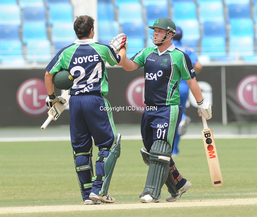 ICC World Twenty20 Qualifier UAE 2012.Ireland comprehensively beat Namibia by 9 wickets with 59  balls remaining in the preliminary final and will now go on to play against Afghanistan in the final later on today (Sat)..Pic shows