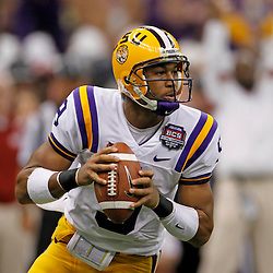 Jan 9, 2012; New Orleans, LA, USA; LSU Tigers quarterback Jordan Jefferson (9) during the first half of the 2012 BCS National Championship game against the Alabama Crimson Tide at the Mercedes-Benz Superdome.  Mandatory Credit: Derick E. Hingle-US PRESSWIRE