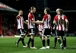 Lasse Vibe of Brentford celebrates scoring his sides second goal with his teammates - Mandatory by-line: Robbie Stephenson/JMP - 05/04/2016 - FOOTBALL - Griffin Park - Brentford, England - Brentford v Bolton Wanderers - Sky Bet Championship