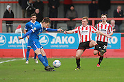 Ben Marlow and Jack Barthram during the FA Trophy match between Cheltenham Town and Chelmsford City at Whaddon Road, Cheltenham, England on 12 December 2015. Photo by Antony Thompson.