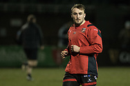 Dragons' Ollie Griffiths during the pre match warm up.<br /> <br /> Photographer Simon Latham/Replay Images<br /> <br /> Guinness PRO14 - Dragons v Edinburgh - Friday 23rd February 2018 - Eugene Cross Park - Ebbw Vale<br /> <br /> World Copyright &copy; Replay Images . All rights reserved. info@replayimages.co.uk - http://replayimages.co.uk