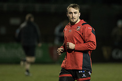 Dragons' Ollie Griffiths during the pre match warm up.<br /> <br /> Photographer Simon Latham/Replay Images<br /> <br /> Guinness PRO14 - Dragons v Edinburgh - Friday 23rd February 2018 - Eugene Cross Park - Ebbw Vale<br /> <br /> World Copyright © Replay Images . All rights reserved. info@replayimages.co.uk - http://replayimages.co.uk