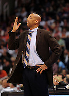 Jan. 30, 2011; Phoenix, AZ, USA; New Orleans Hornets head coach Monty Williams reacts from the sidelines against the Phoenix Suns during the first half at the US Airways Center. Mandatory Credit: Jennifer Stewart-US PRESSWIRE