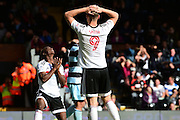 Fulham FC forward Matt Smith (9) and Fulham FC forward Sone Aluko (24) can't believe another missed opportunity during the EFL Sky Bet Championship match between Fulham and Queens Park Rangers at Craven Cottage, London, England on 1 October 2016. Photo by Jon Bromley.