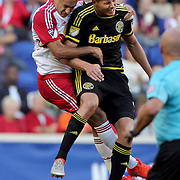 HARRISON, NEW JERSEY- OCTOBER 16:  Aurelien Collin #78 of New York Red Bulls and Adam Jahn #12 of Columbus Crew challenge for the ball during the New York Red Bulls Vs Columbus Crew SC MLS regular season match at Red Bull Arena, on October 16, 2016 in Harrison, New Jersey. (Photo by Tim Clayton/Corbis via Getty Images)