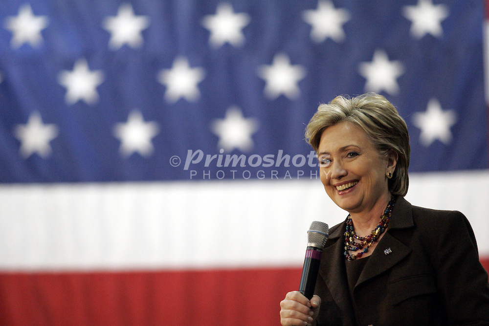 February 26, 2008. Hillary Clinton visits Lorain Admiral King High School in Lorain, Ohio. She discussed her health care ideas, foreclose rates, and her plane for departure from Iraq. Photo Copyright 2008, Michael A. Ciu.