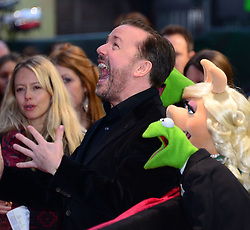 Ricky Gervais, Kermit The Frog, Miss Piggy and Constantine attends Muppets Most Wanted VIP film screening of sequel to last year's comedy, which sees the return of the Muppets as they embark on a global tour, getting caught up in an international crime caper at Curzon Mayfair, London, United Kingdom. Monday, 24th March 2014. Picture by Nils Jorgensen / i-Images