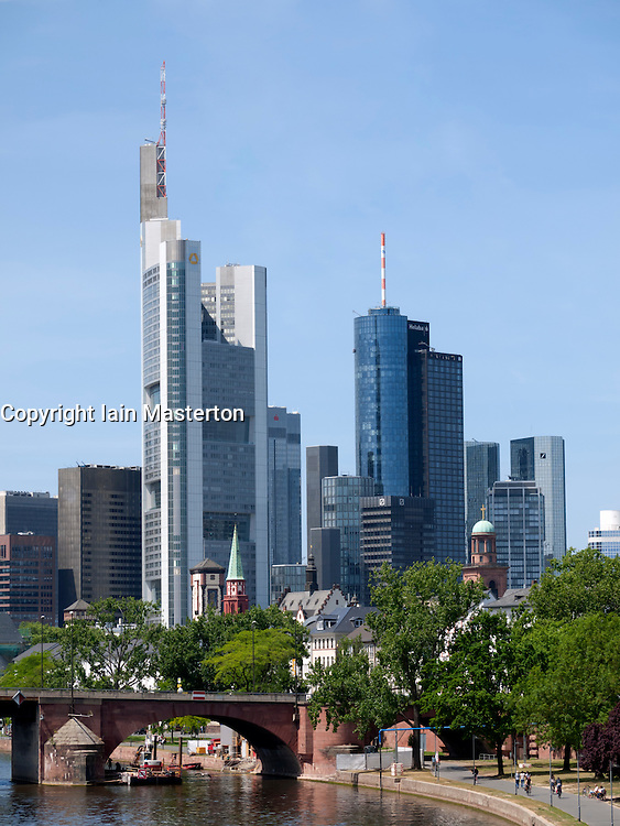 Skyline of financial district of Frankfurt am Main in Hesse Germany