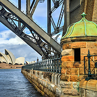 Two icons one amazing city. The Sydney Opera House framed by the Sydney Harbour Bridge.