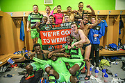 FGR players celebrate in the dressing room during the Vanarama National League Play Off second leg match between Forest Green Rovers and Dagenham and Redbridge at the New Lawn, Forest Green, United Kingdom on 7 May 2017. Photo by Shane Healey.