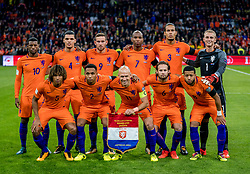10-10-2017 NED: WK kwalificatie Nederland - Zweden, Amsterdam<br /> Oranje heeft Zweden met 2-0 verslagen. Het moest met zeven doelpunten verschil halen om nog kans te maken op plaatsing voor het WK. / (Top Row L-R) Georginio Wijnaldum of Holland, Karim Rekik of Holland, Vincent Janssen of Holland, Ryan Babel of Holland, Virgil van Dijk of Holland, goalkeeper Jasper Cillessen of Holland (Front row L-R) Nathan Ake of Holland, Kenny Tete of Holland, Arjen Robben of Holland, Daley Blind of Holland, Tonny Vilhena of Holland
