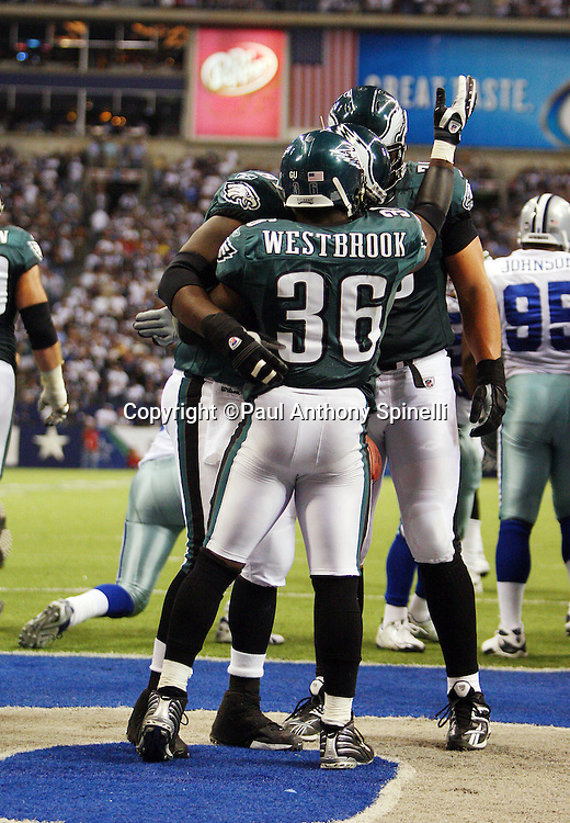 IRVING, TX - SEPTEMBER 15:  Running back Brian Westbrook #36 of the Philadelphia Eagles celebrates after scoring a touchdown against the Dallas Cowboys during the game at Texas Stadium on September 15, 2008 in Irving, Texas. The Cowboys defeated the Eagles 41-37. ©Paul Anthony Spinelli *** Local Caption *** Brian Westbrook