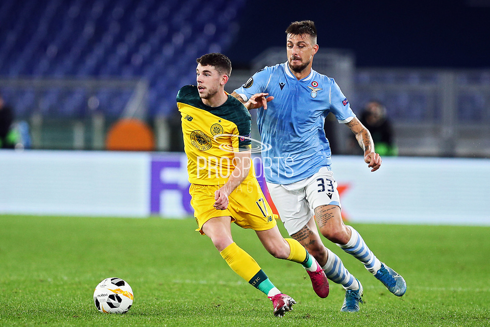 Ryan Christie (L) of Celtic and Francesco Acerbi (R) of Lazio in action during the UEFA Europa League, Group E football match between SS Lazio and Celtic FC on November 7, 2019 at Stadio Olimpico in Rome, Italy - Photo Federico Proietti / ProSportsImages / DPPI