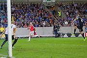 Wayne Rooney of Manchester United crosses the ball  during the Champions League Qualifying Play-Off Round match between Club Brugge and Manchester United at the Jan Breydel Stadion, Brugge, Belguim on 26 August 2015. Photo by Phil Duncan.