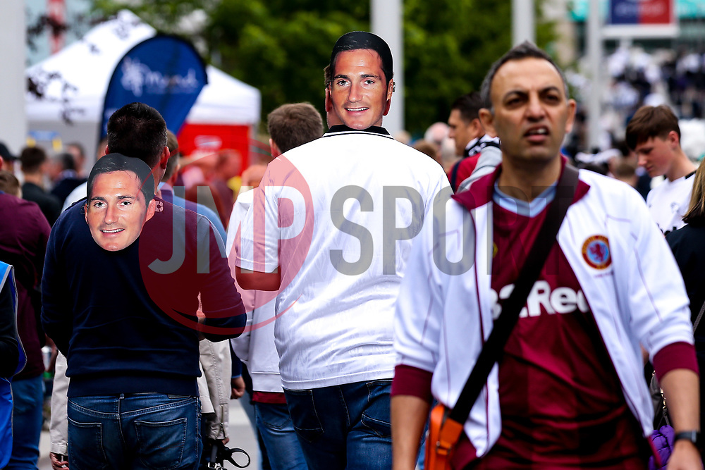 Derby County fans arrive at Wembley for the Sky Bet Playoff Final against Aston Villa wearing Derby County manager Frank Lampard masks - Mandatory by-line: Robbie Stephenson/JMP - 27/05/2019 - FOOTBALL - Wembley Stadium - London, England - Aston Villa v Derby County - Sky Bet Championship Play-off Final