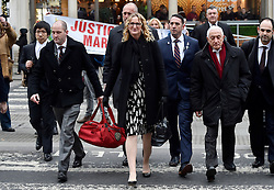 © Licensed to London News Pictures. 08/02/2017. London, UK. CLAIRE BLACKMAN (C), wife of Sergeant Alexander Blackman, arrives at the Royal Courts of Justice in London, where Sgt Blackman has begun an appeal against his life sentence for the murder of a wounded Taliban fighter in Afghanistan in 2011Photo credit: Hannah McKay/LNP