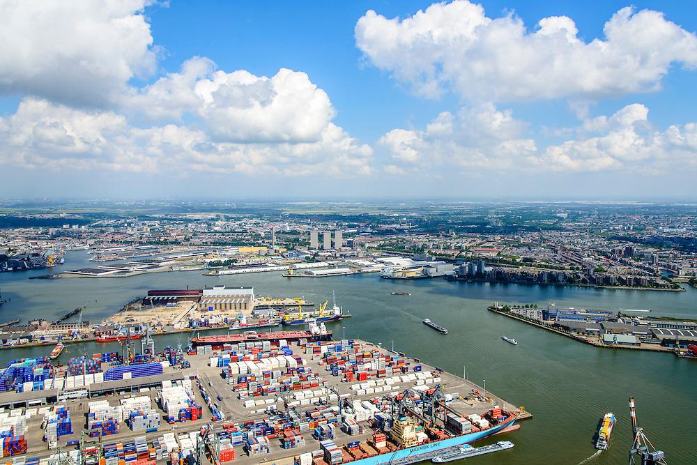 Nederland, Zuid-Holland, Rotterdam, 10-06-2015;  Waalhaven (WestZijde) gezien naar rivier de Nieuwe Maas.<br /> Uniport Multipurpose Terminals container terminal in de voorgrond.<br /> Waal harbour (West side) seen in the direction of Nieuwe Maas river.<br /> luchtfoto (toeslag op standard tarieven);<br /> aerial photo (additional fee required);<br /> copyright foto/photo Siebe Swart