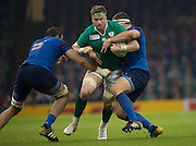 Cardiff, Wales, Great Britain, Ireland's, Jamie HEASLIP, caught between left, Yoann MAESTRI and Guilhem GUIRADO, during the Pool D game, France vs Ireland.  2015 Rugby World Cup,  Venue, Millennium Stadium, Cardiff. Wales   Sunday  11/10/2015.   [Mandatory Credit; Peter Spurrier/Intersport-images]