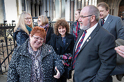 © Licensed to London News Pictures. 18/12/2019. London, UK. Relatives and survivors of the 1982 IRA Hyde Park Bomb (L-R) Lorriane Nutt, SarahJane Young, Marion Bright, Louise Tipper, Catherine Utley, Vincenzo Latino and Christopher Daly at The High Court where they and other family members have won a ruling in a civil case against convicted IRA member John Downey. The court has ruled that John Downey was an active participant in the bombing.  The Hyde Park bombing in July 1982 killed Squadron Quartermaster Corporal Roy Bright, Lieutenant Anthony Daly, Lance Corporal Jeffrey Young and Trooper Simon Tipper. Photo credit: Peter Macdiarmid/LNP