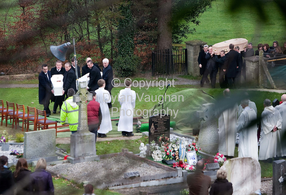 1/1/2009.The three Coffins pictured at the Funeral of Sharon, Nadia (2) and Zsara (7) Whelan in Wingap county Kilkenny yesterday..Picture Dylan Vaughan.