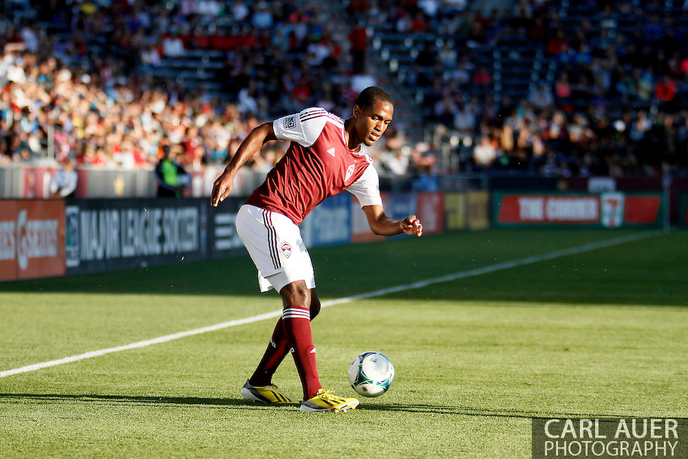 June 1st, 2013 - Colorado Rapids midfielder Atiba Harris (16) attempts a pass in first half action of the MLS match between FC Dallas and the Colorado Rapids at Dick's Sporting Goods Park in Commerce City, CO