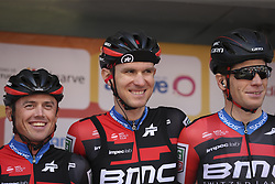 February 14, 2018 - Lagos, Portugal - Simon Gerrans, Tejay Van Garderen and Jurgen Roelandts of BMC Racing Team before the 1st stage of the cycling Tour of Algarve between Albufeira and Lagos, on February 14, 2018. (Credit Image: © Str/NurPhoto via ZUMA Press)