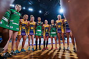 Sunshine Coast Lightning team huddle.<br /> PERTH, AUSTRALIA - AUGUST 26: West Coast Fever vs the Sunshine Coast Lightning during the Suncorp Super Netball Grand Final match from Perth Arena - Sunday 26th August 2018 in Perth, Australia. (Photo by Daniel Carson/dcimages.org/Netball WA)
