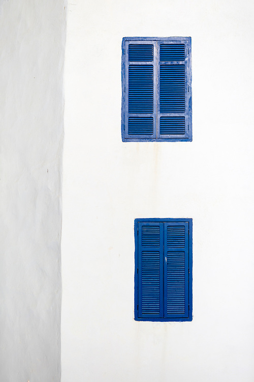 ESSAOUIRA, MOROCCO May 10th 2018 - Colourful window shutter architecture, Essaouira, Southern Morocco