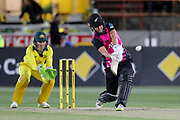 Sophie Devine hits over mid-wicket for six. Women's T20 international Cricket , Australia v New Zealand White Ferns. North Sydney Oval, Sydney, NSW, Australia. 29 September 2018. Copyright Image: David Neilson / www.photosport.nz