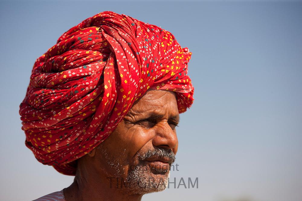 Rajasthani farmer with traditional Rajasthani turban at Nimaj, Rajasthan, Northern India