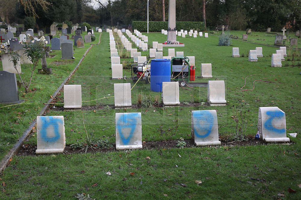 © Licensed to London News Pictures. 23/11/2015. London, UK. Cleaning equipment is readied to clean vandalised war graves at The Australian Military Cemetery next to St Mary's Parish Church in Harefield.  Photo credit: Peter Macdiarmid/LNP