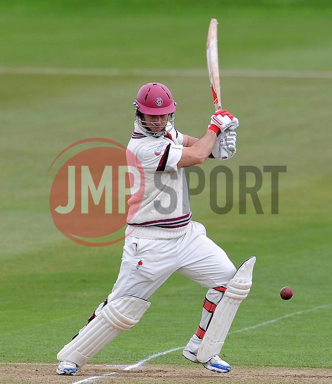 Somerset's Jim Allenby drives the ball. - Photo mandatory by-line: Harry Trump/JMP - Mobile: 07966 386802 - 04/04/15 - SPORT - CRICKET - Pre Season - Day 3 - Somerset v Durham MCCU - Taunton Vale, Somerset, England.