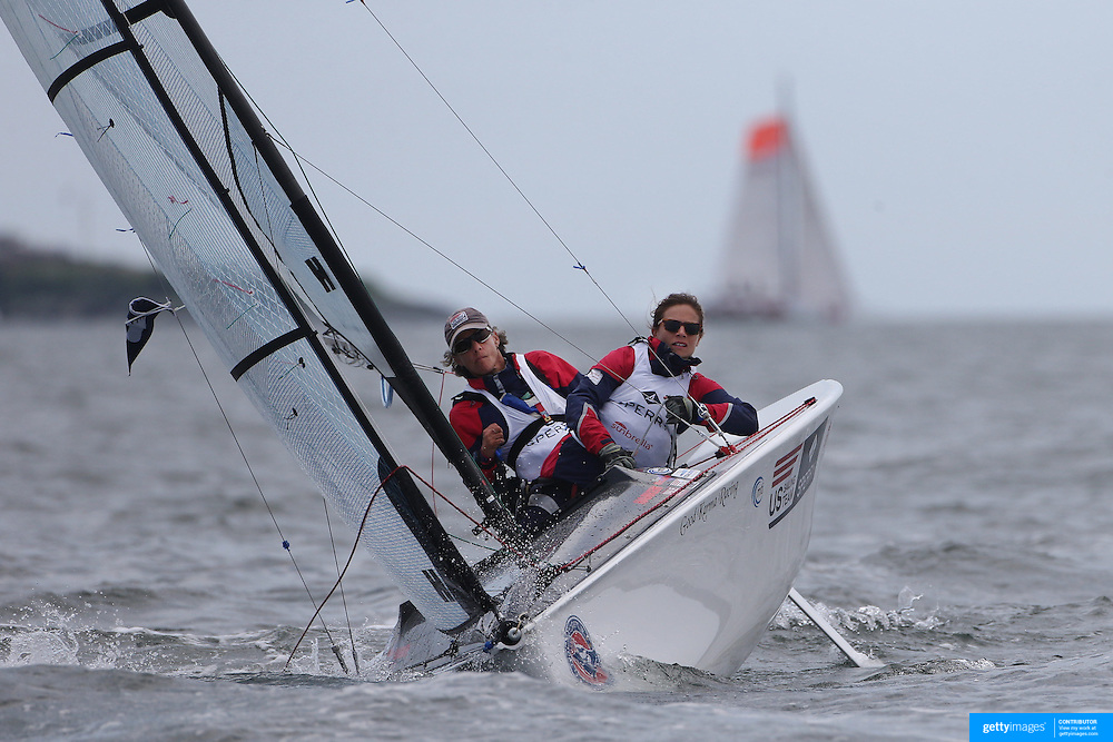 Skipper Sarah Everhart Skeels, (left), Tiverton, RI, and Cindy Walker, Middletown, RI, the only all female team competing in The Skud 18 class, in action during the C. Thomas Clagett, Jr. Memorial Clinic &amp; Regatta at Newport, Rhode Island hosted by Sail Newport at Fort Adams. <br /> The Clagett is North America&rsquo;s premier event for sailors with disabilities with sailors competing in the 3 Paralympic class boats and is an integral part of preparation for athletes preparing for  Paralympic and world championship racing. Newport, Rhode Island, USA. 26th June 2015. Photo Tim Clayton