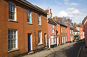 Attractive eighteenth and nineteenth century terraced houses and the Mariners  pub, New Street, Woodbridge, Suffolk