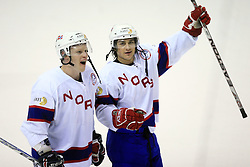 Mads Hansen and Mats Aasen Zuccarello of Norway celebrate at ice-hockey match Germany vs Norway (they have old replika jerseys from year 1966) at Preliminary Round (group C) of IIHF WC 2008 in Halifax, on May 07, 2008 in Metro Center, Halifax,Nova Scotia, Canada. (Photo by Vid Ponikvar / Sportal Images)