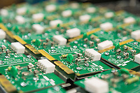Close-up of circuit board in electronics industry