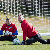 St Johnstone Training...06.04.15<br /> Keeper Alan Mannus pictured in training this morning ahead of tomorrow's game against Ross County after signing a new two year contract. He is pictured with fellow keeper Stevie Banks<br /> Picture by Graeme Hart.<br /> Copyright Perthshire Picture Agency<br /> Tel: 01738 623350  Mobile: 07990 594431