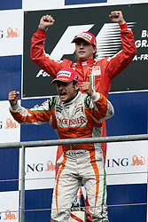 SPA FRANCORCHAMPS, BELGIUM - Sunday, August 30, 2009: Kimi Raeikkoenen (FIN, Scuderia Ferrari Marlboro) celebrates winning and Giancarlo Fisichella (ITA, Force India) celebrates second place during the Belgian Grand Prix at the  Circuit of Spa Francorchamps. (Photo by Juergen Tap/Hochzwei/Propaganda)