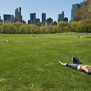 Relaxing at Sheep Meadow in Central Park, New York City