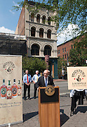 Louisville Mayor Greg Fischer and Kentucky Governor Steve Beshear join Michter's Distillery President Joseph J. Magliocco at a news conference Wednesday, July 6, 2011 to announce plans to open a distillery in the historic Fort Nelson Building in downtown Louisville, Ky., across from the Louisville Slugger Museum and Factory by spring 2013. (Michter's photo by Brian Bohannon)
